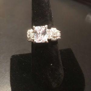 New silver large sapphire engagement ring